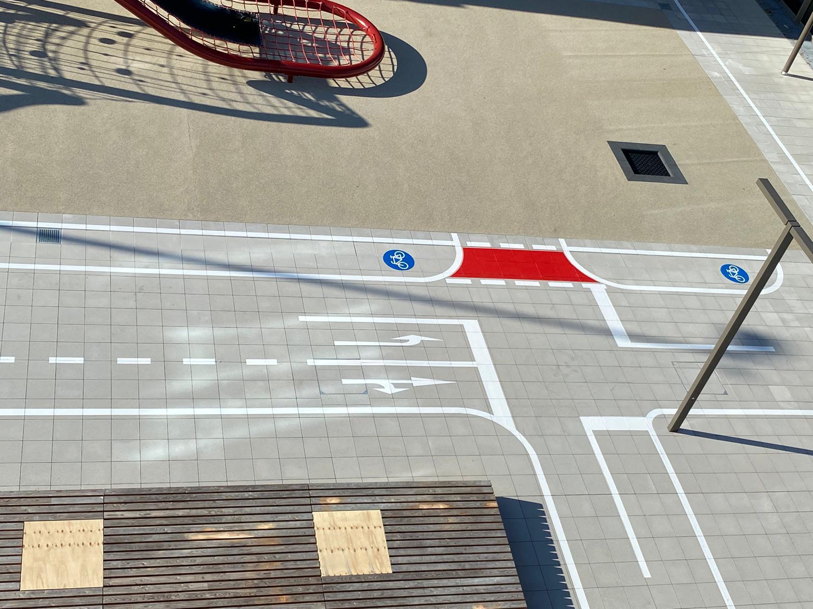 Markierung eines Verkehrsübungsplatz